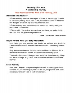 discipleship focus handout